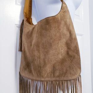 Bags - Boho Brown Suede Hobo Shoulder Bag With Fringe